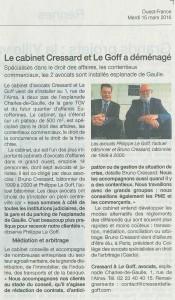 Article de presse Ouest France du 15 Mars 2016